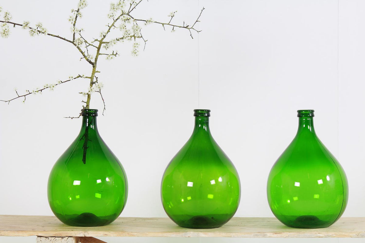 Collection of Six Green Vintage Demijohns from France