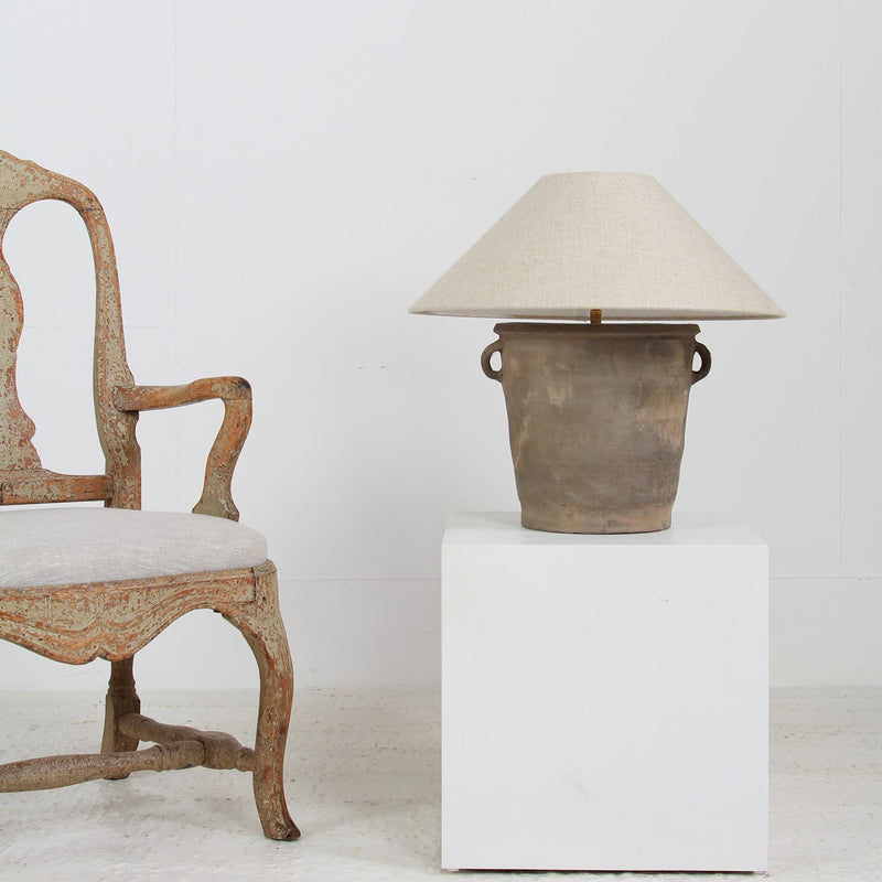WONDERFUL TERRACOTTA TABLE LAMP WITH NATURAL EMPIRE  LINEN SHADE