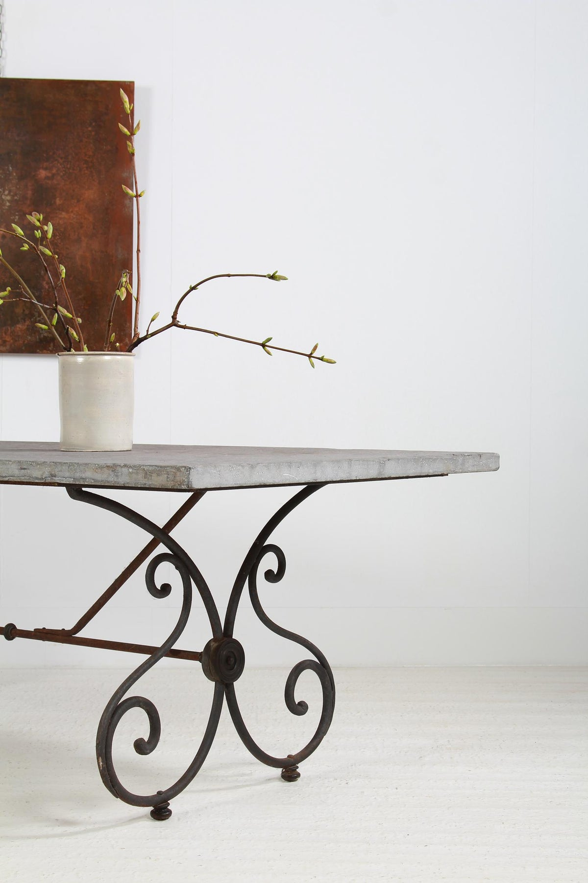 Impressive French 19thC Iron & Belgian Bluestone Garden Table