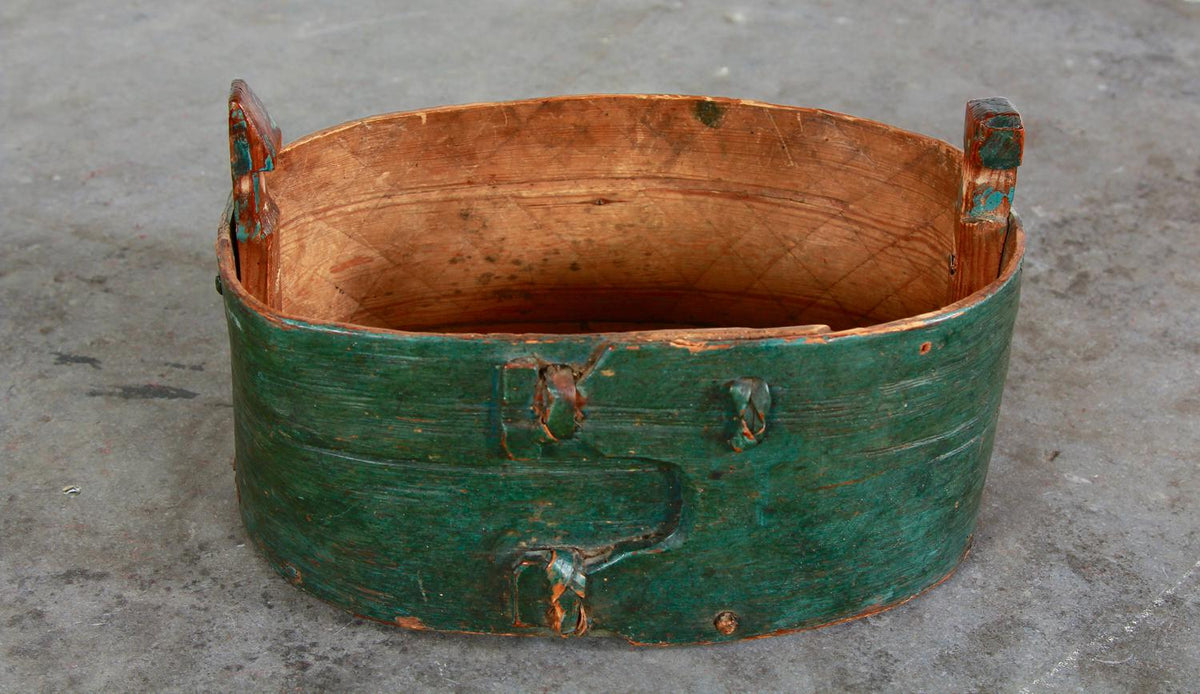 Charming Swedish 19thC Bentwood Box in Original Green Paint