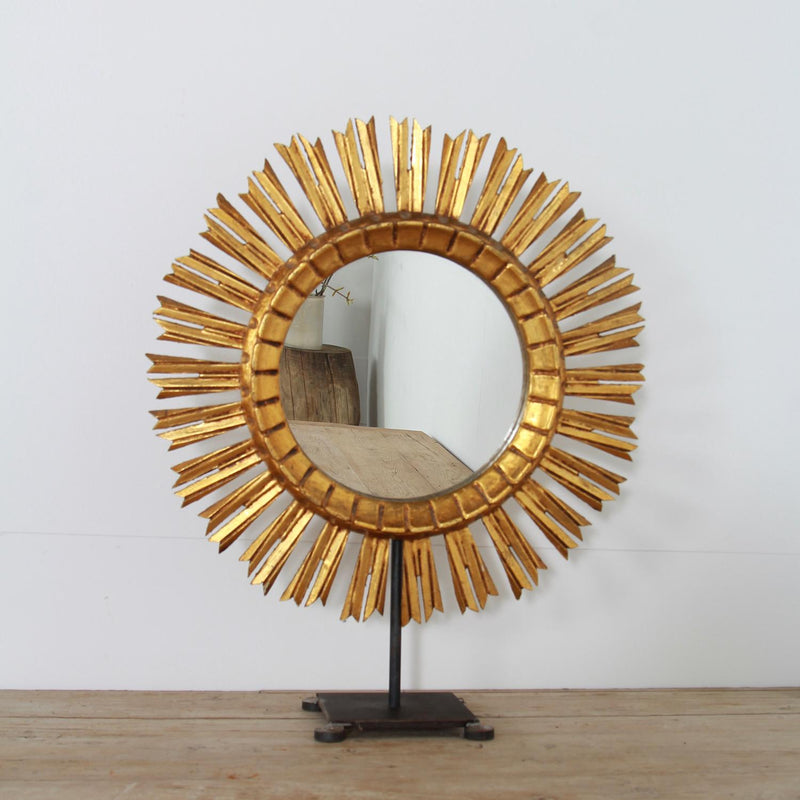 Mid-century French Sunburst Mirror on Hand Forged Iron Stand