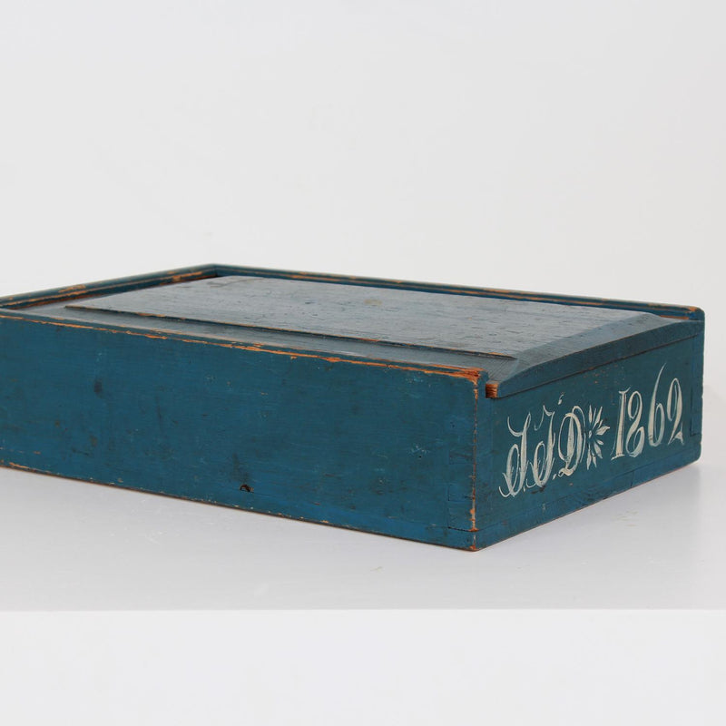 Original Blue Painted Swedish Bridal Folk Art Box Dated 1862