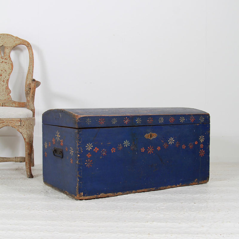 Swedish 19thC Folk Art Blue and Flower Painted Trunk