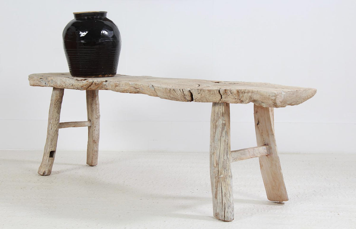 Rustic & Sculptural Country  Elm  Bench