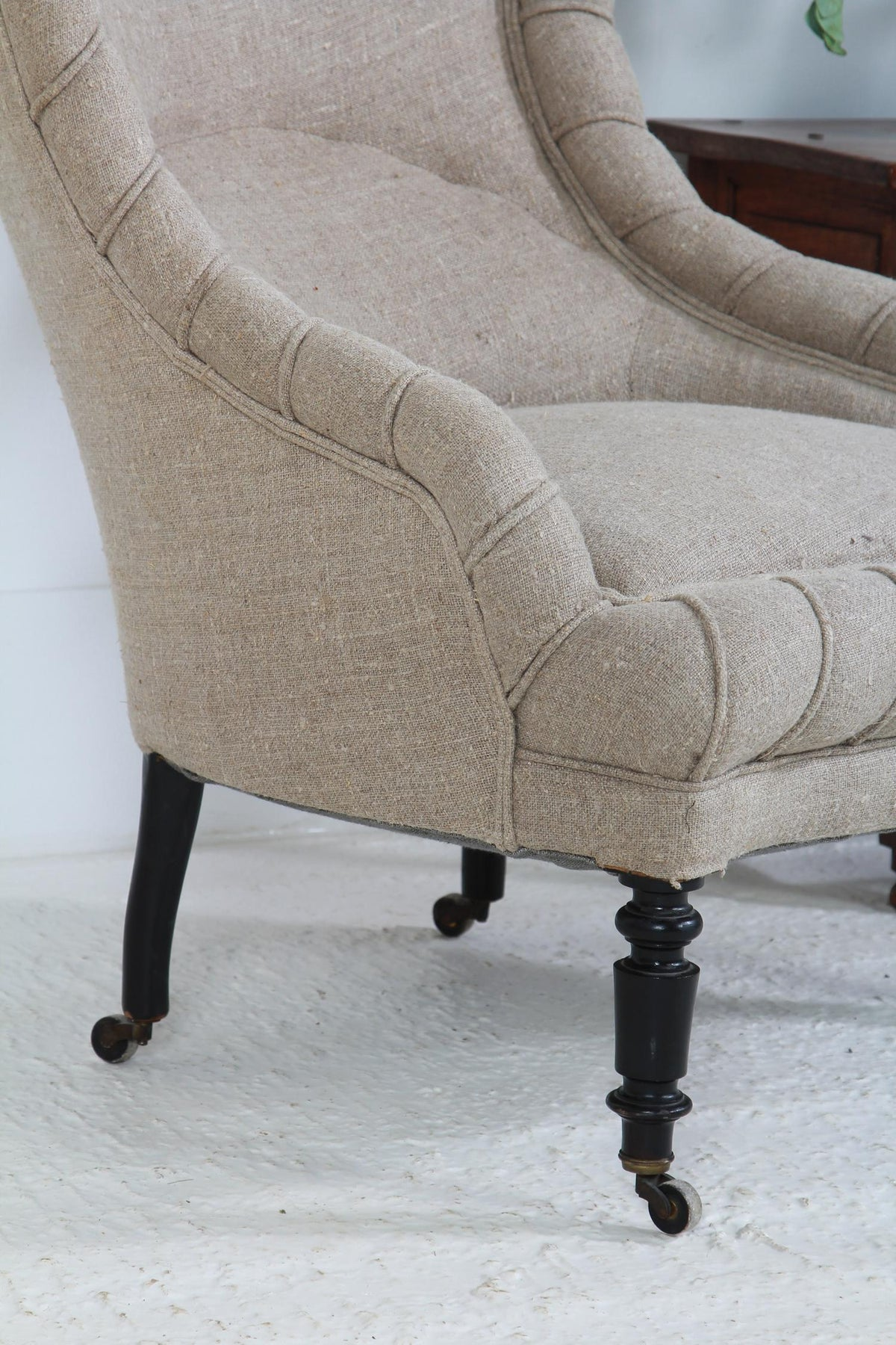 French 19thC Fauteuil Armchair in Vinage Hemp Linen