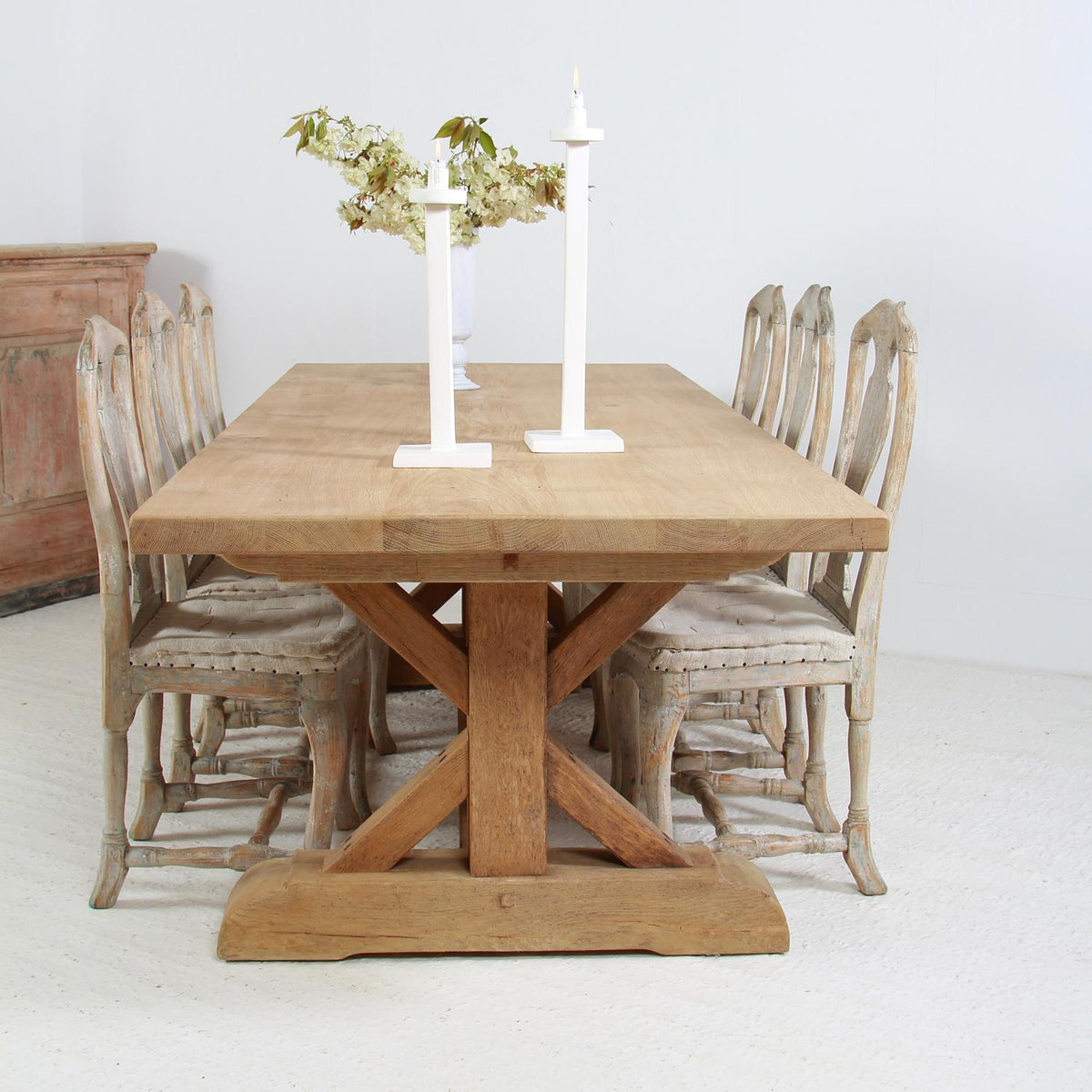 Exceptional Belgian Natural Oak X Frame Dining Table