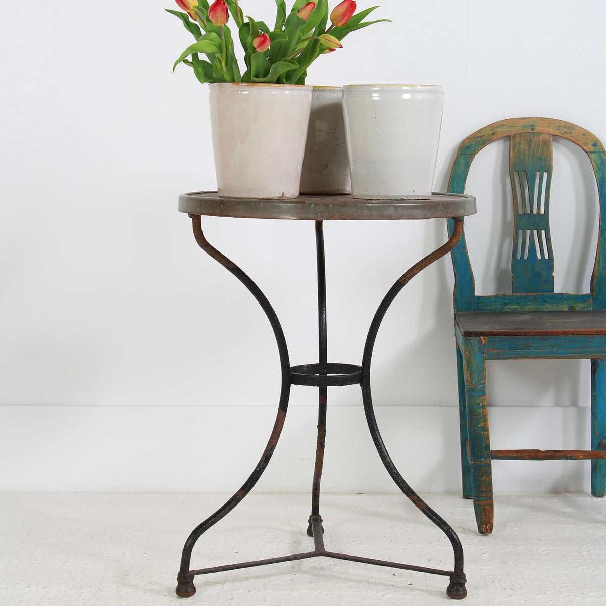 French Round Wrought Iron and Marble Garden Table