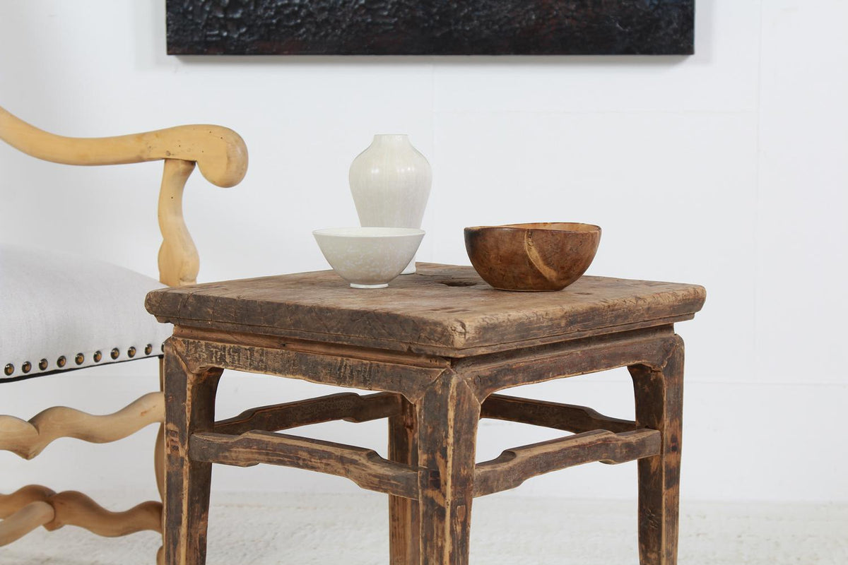 Charming Rustic Chinese 19thC Elm Side Table