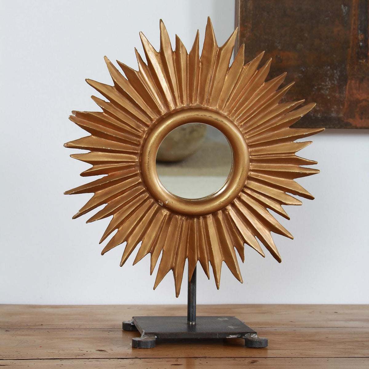 French Sunburst Mirror on Hand Forged Iron Stand