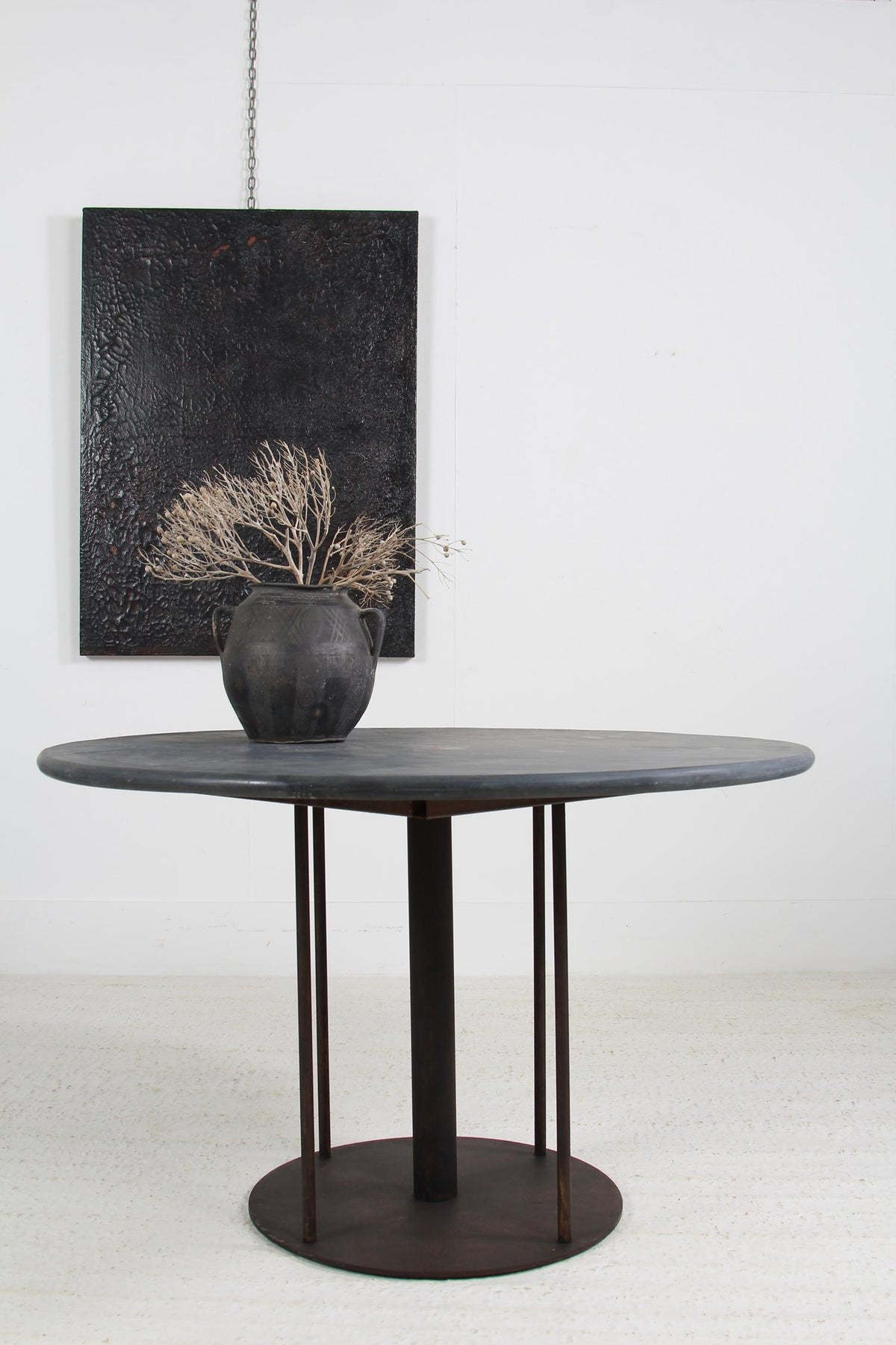 Outstanding French 20th Century Slate and Iron Gueridon