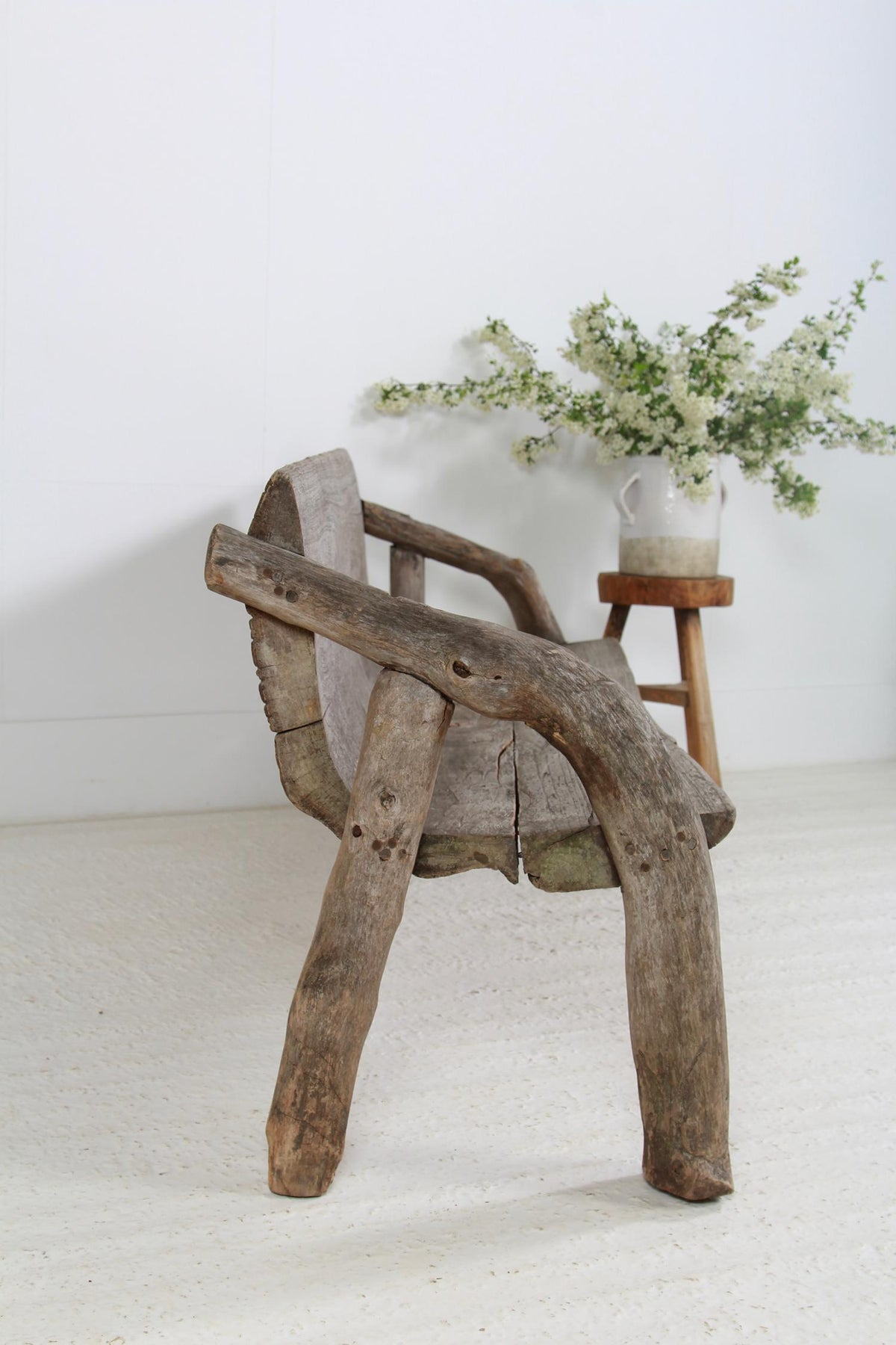 Exceptional  Primitive Wabi-Sabi Teak Wood Bench
