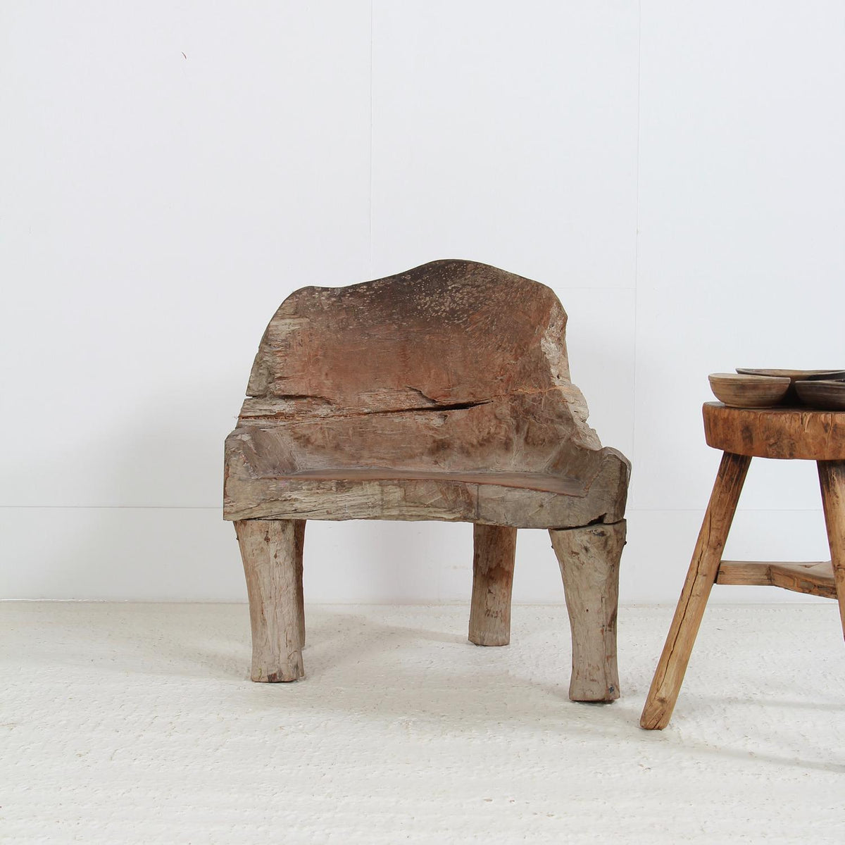 Rare and Impressive Primitive Hand Carved Armchair