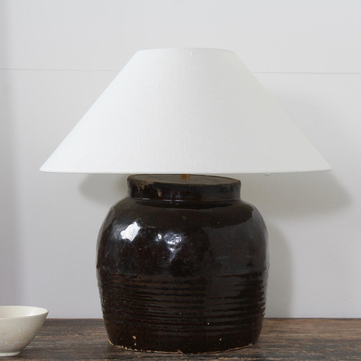 ANTIQUE CHINESE STORAGE JAR LAMP WITH EMPIRE LINEN SHADE