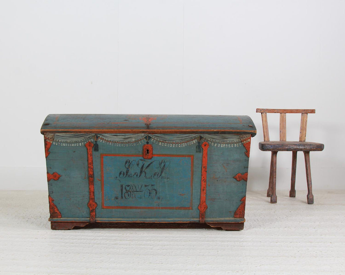 EXCEPTIONAL XL Swedish 19thC Blue Domed Top Trunk DATED  1833