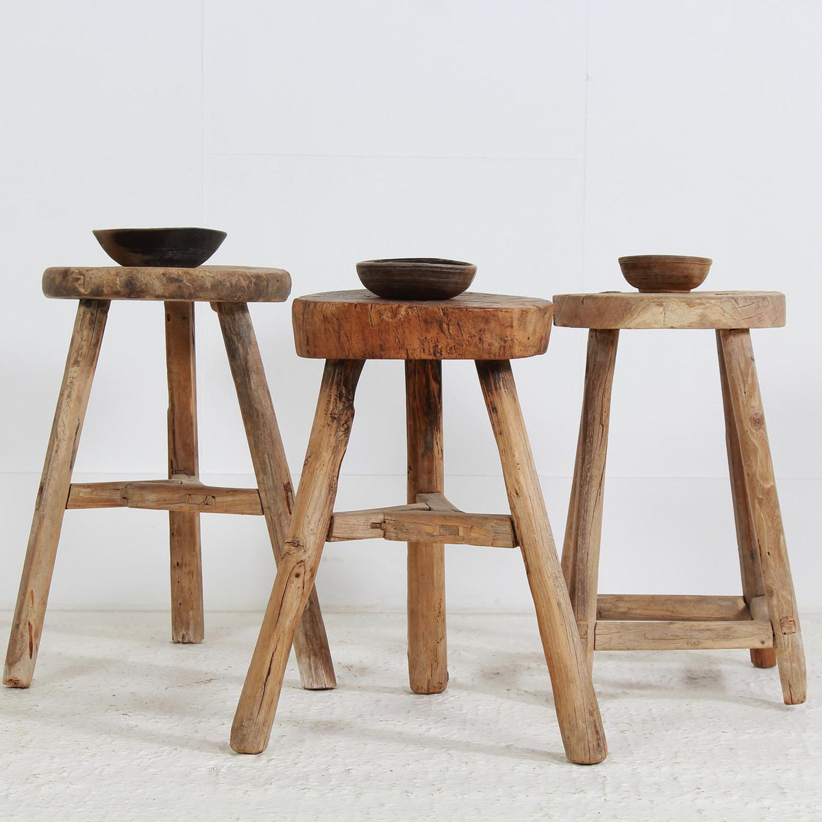 Collection of Three Rustic Chinese Workers Stools