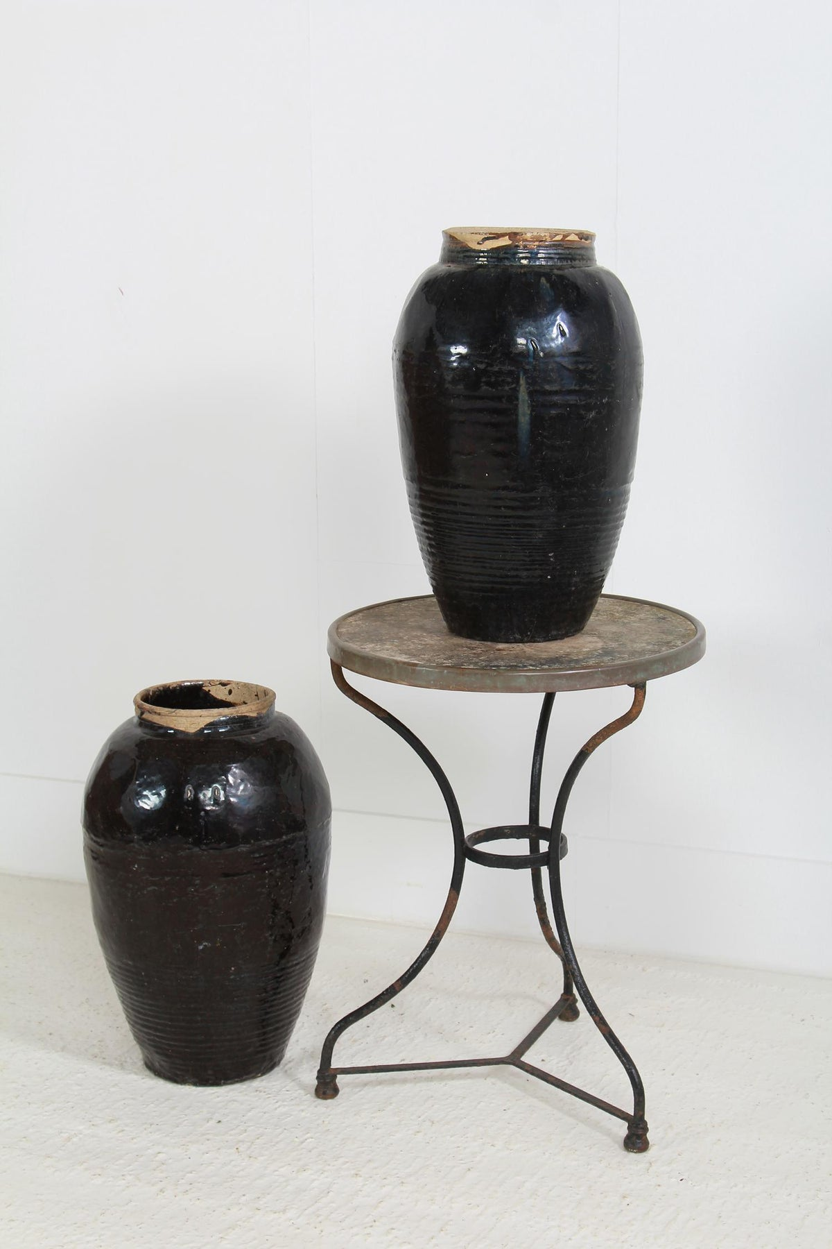 Collection of Two Antique Handmade Chinese Black Glazed Pickling Jars