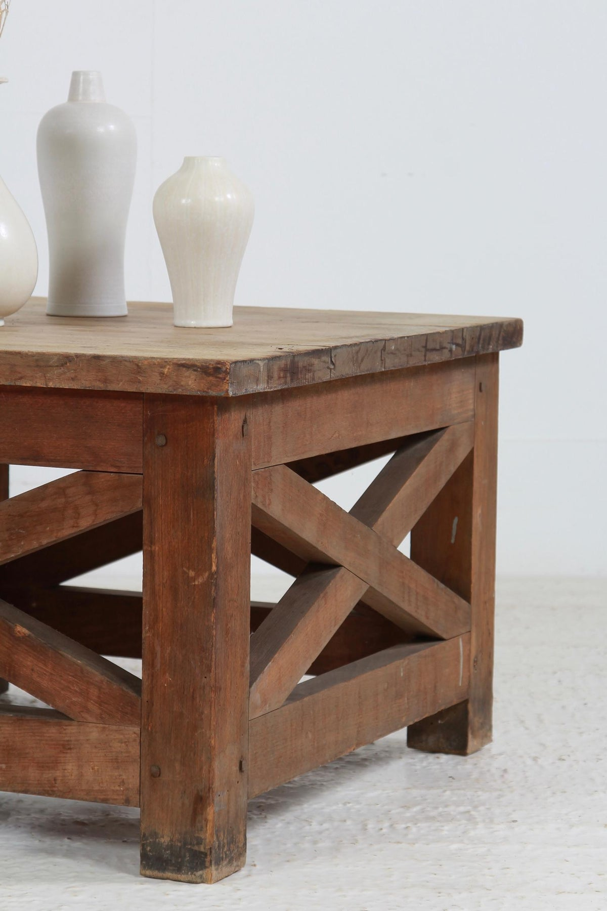 French 19thC X FRAME ATELIER TABLE