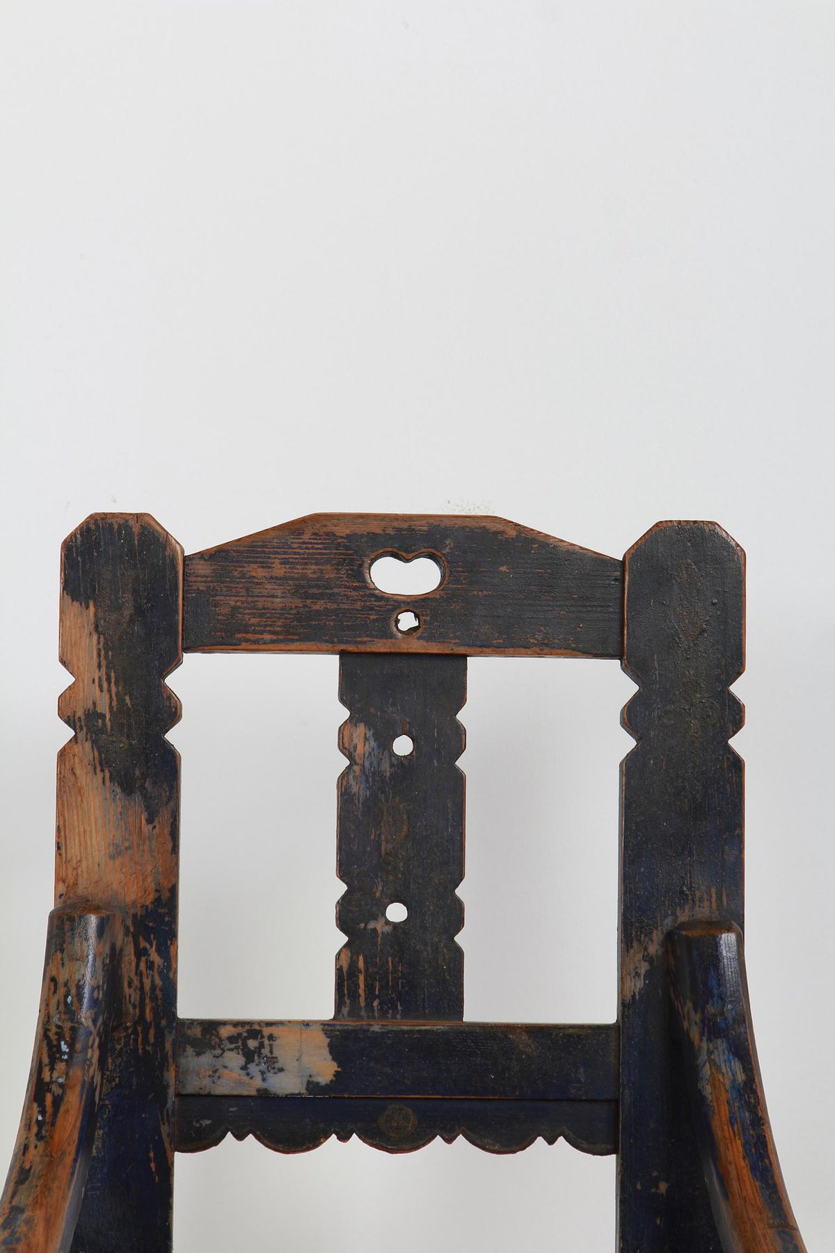 Charming Swedish Primitive  Folk Art Chair in Original Blue Paint