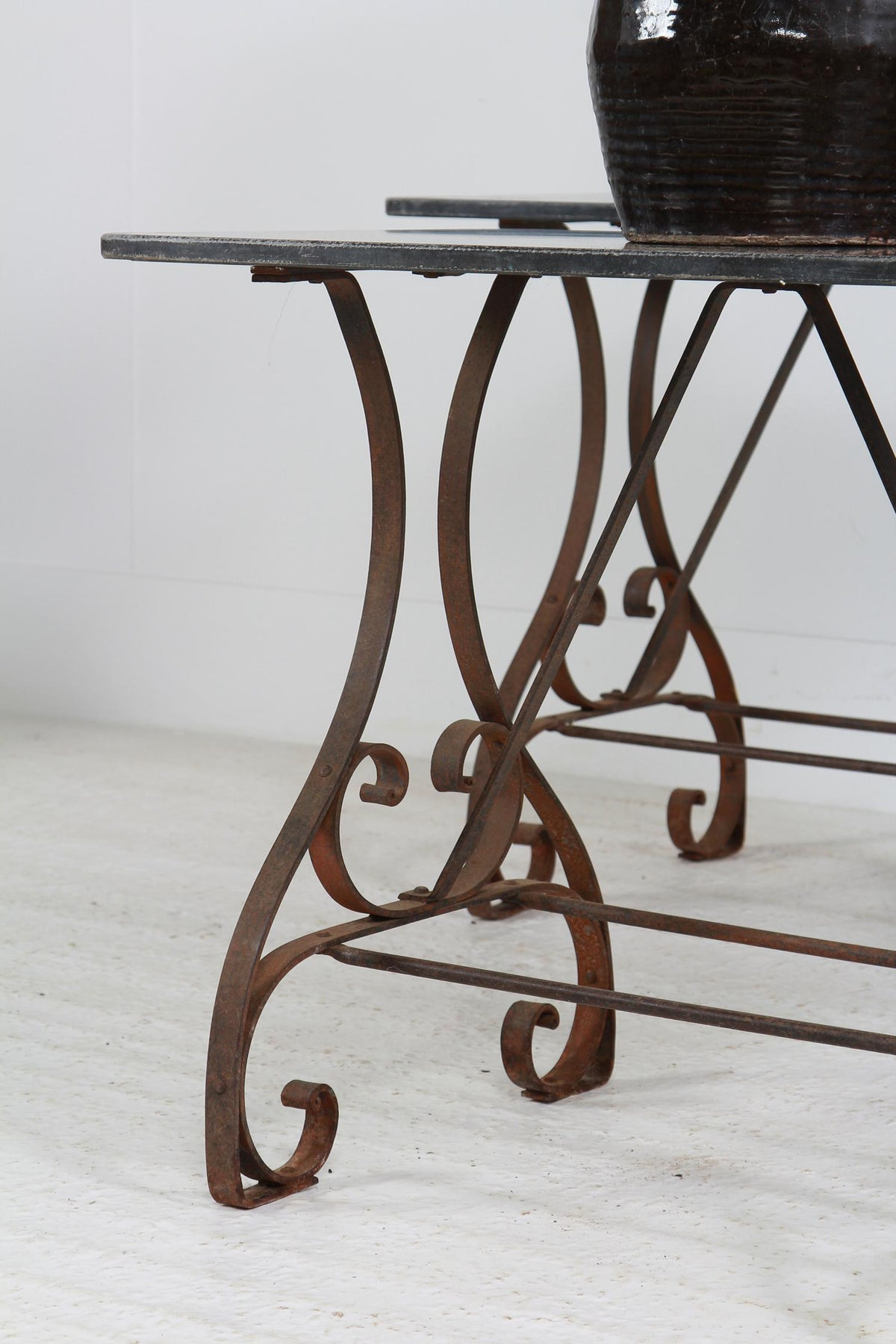 Pair of French Early 20thC  Iron & Granite Top Console Tables