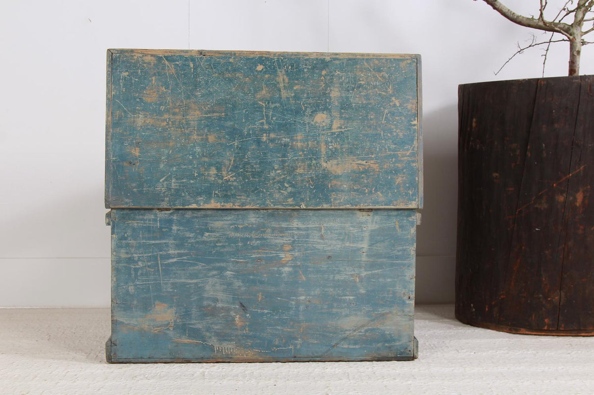 Beautiful Original English Blue Painted Pine Blanket Box/Trunk