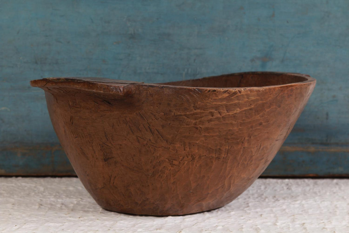 Large Antique Rustic Hand Carved Wood Bowl