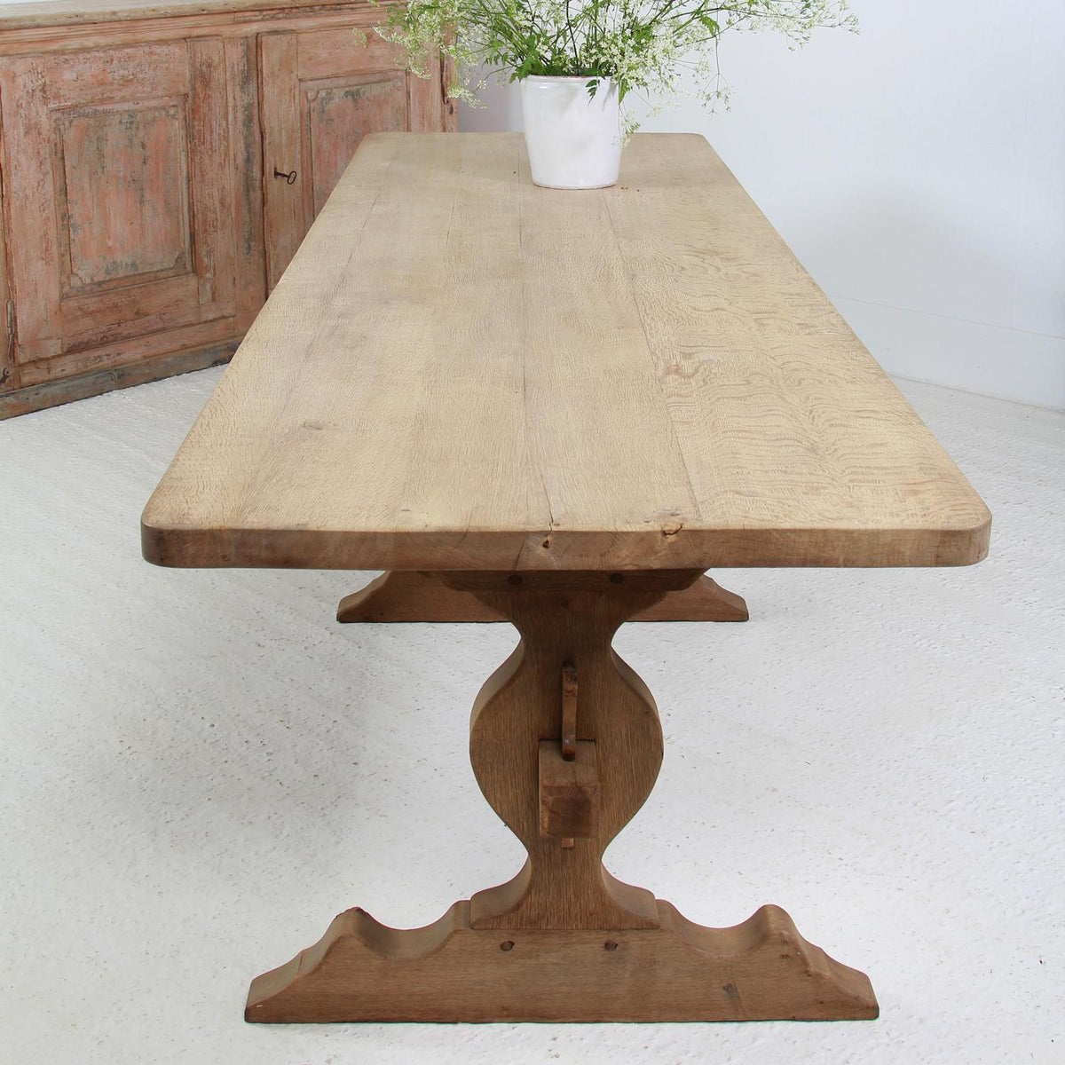 Grand Scale French 20thC  Bleached Oak Dining  Table