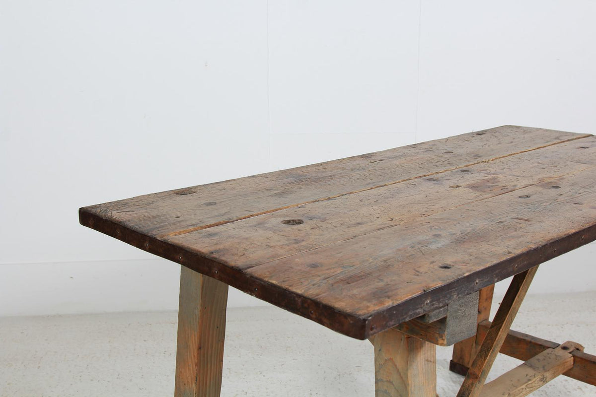 Primitive Rustic French 19thC Farmhouse Work Table
