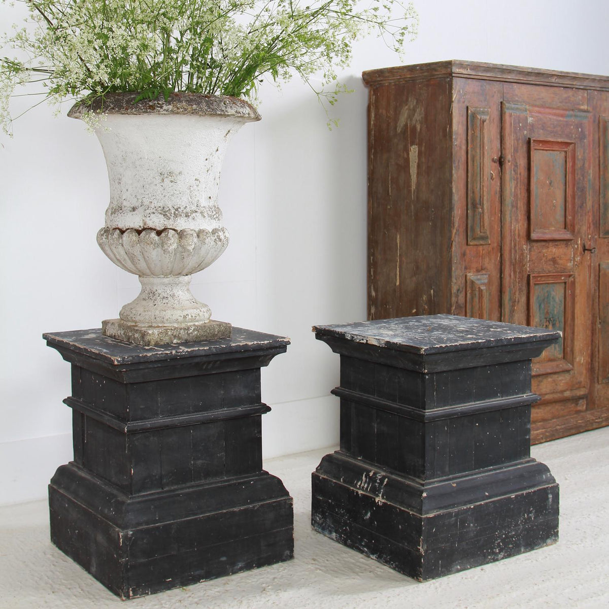 Pair Of Wood Pedestal Sculpture Stands With Nice Old Black Patina