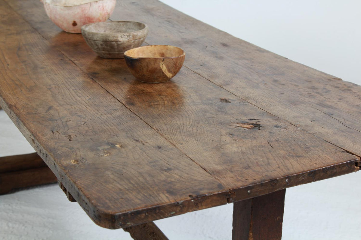 French Early 18thC Primitive Elm Trestle Dining Table