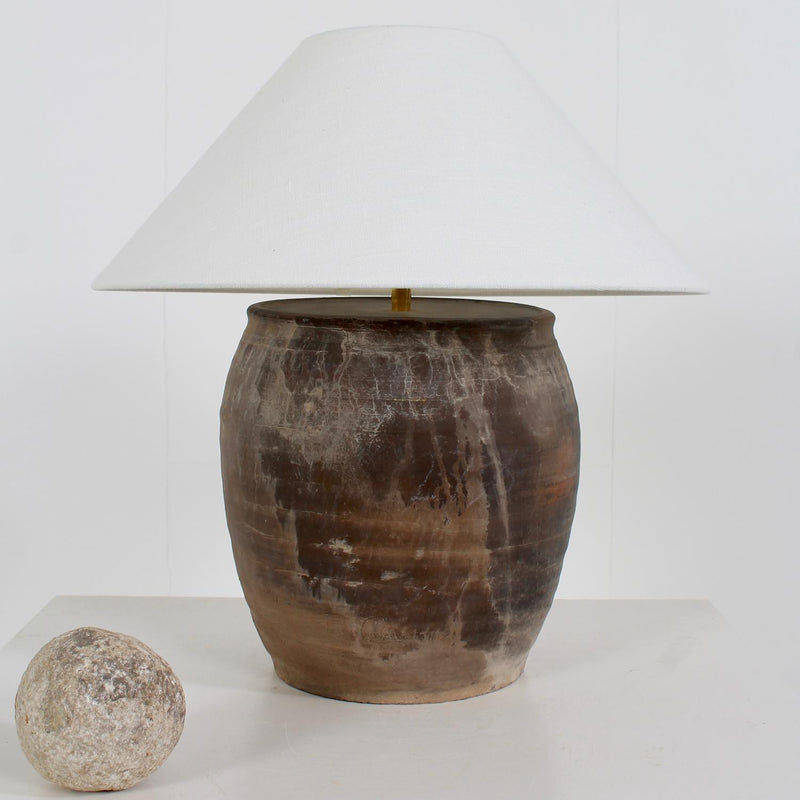 AUTHENTIC TERRACOTTA TABLE  LAMP WITH WHITE LINEN SHADE