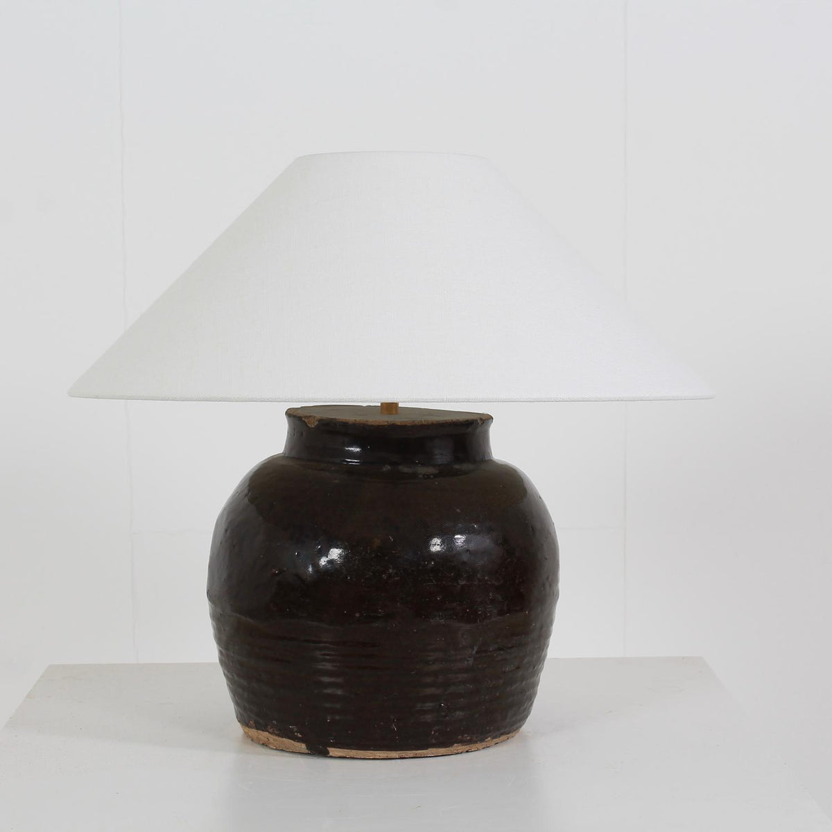 CHINESE WATER POT LAMP WITH WHITE BELGIUM LINEN EMPIRE  SHADE