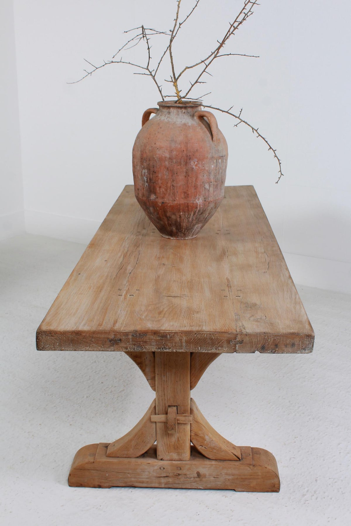 IMPRESSIVE FRENCH 19THC COUNTRY TRESTLE OAK DINING TABLE