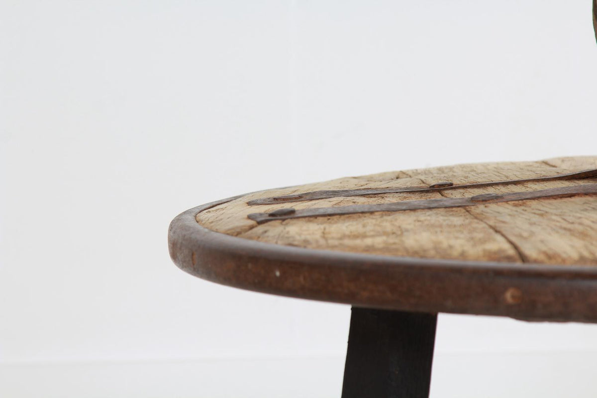 Forged Iron and Hardwood Wagon or Chariot Wheel Coffee Table