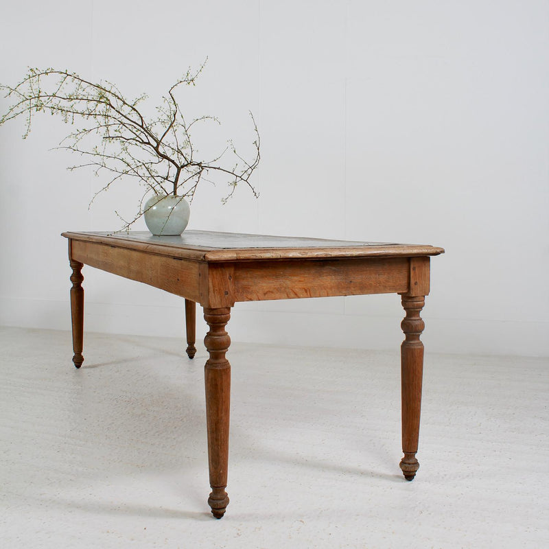 Antique English Oak  19thC Table with Zinc Top