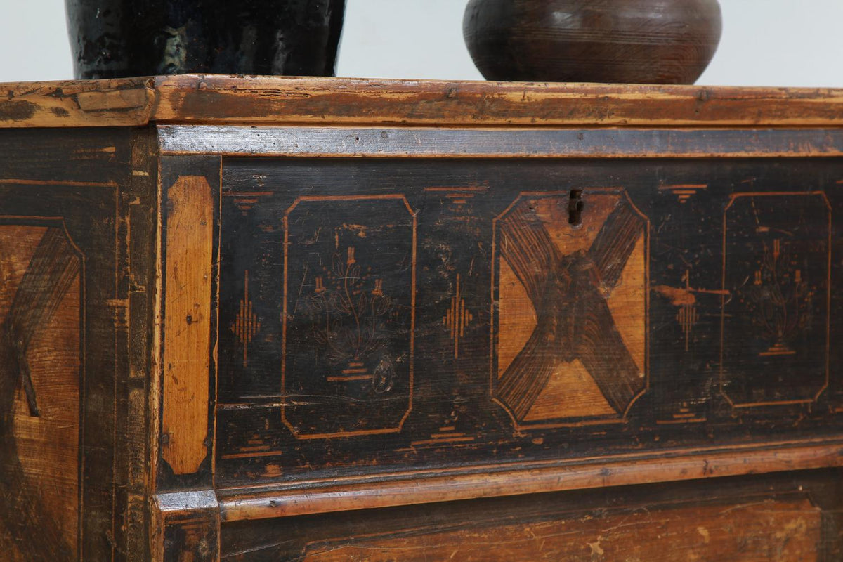 "Rare Black & Gold ""X"" European Chest On Legs"