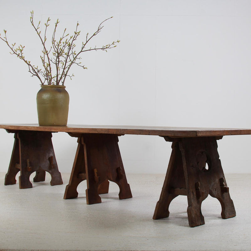 Monumental French 19thC Antique  Oak Monastery Table