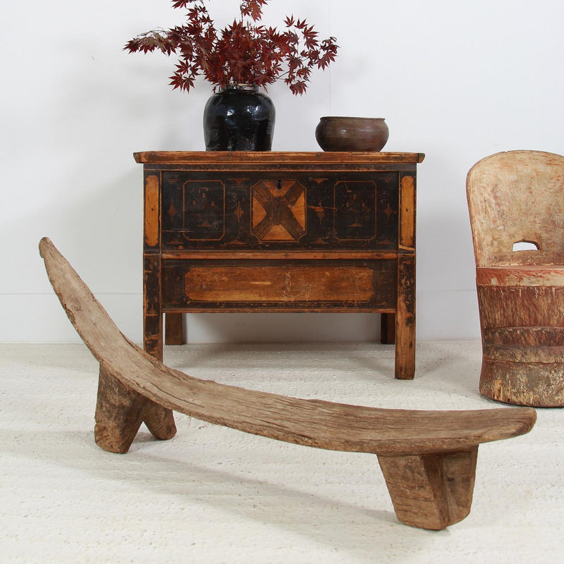 Primitive Wabi Sabi Tribal Wood Bench