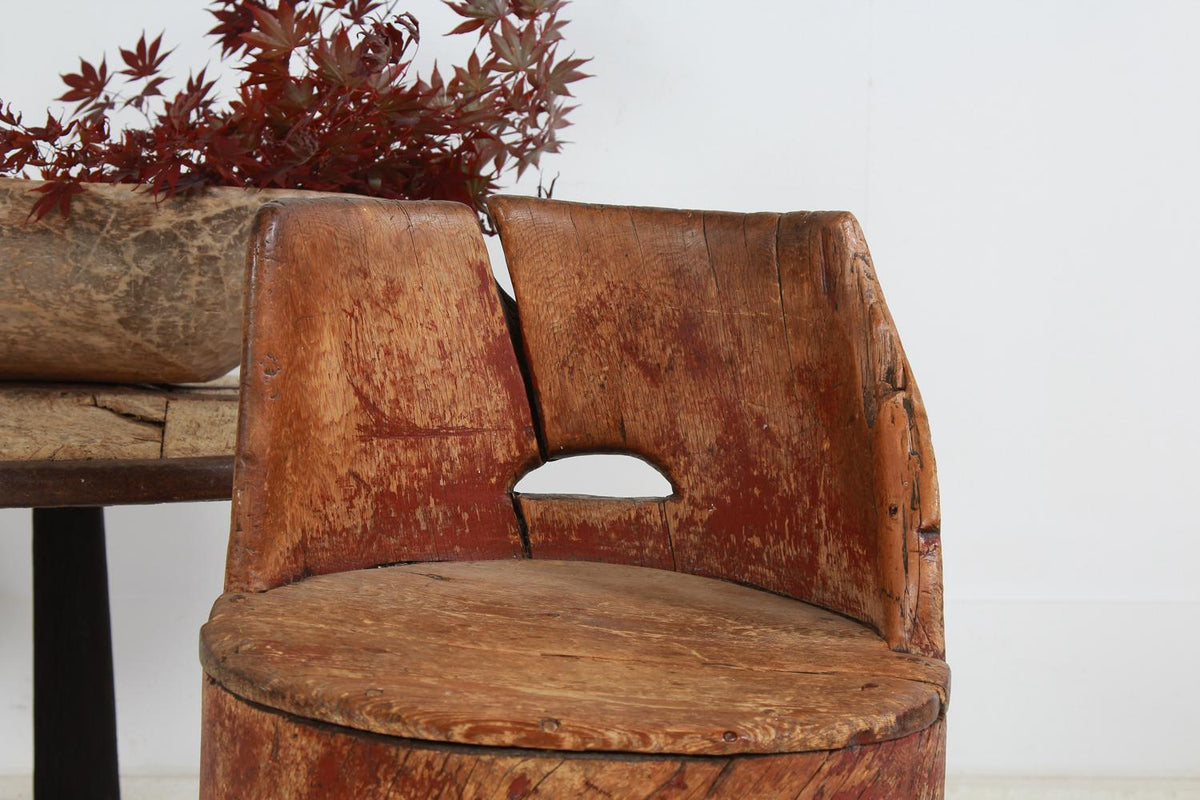 Exceptional Swedish Primitive 19thC Dug Out Sculptural Chair
