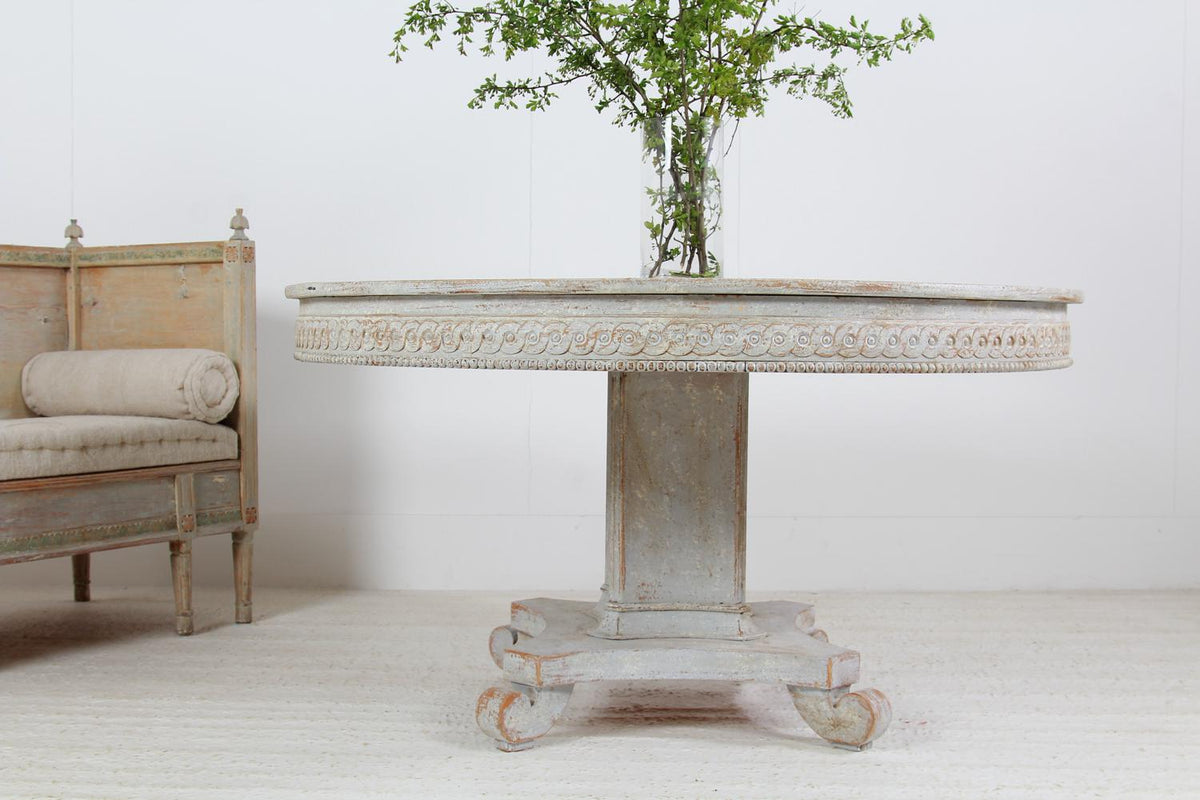 Impressive 19th Century Swedish Painted Pedestal  Centre/Dining  Table