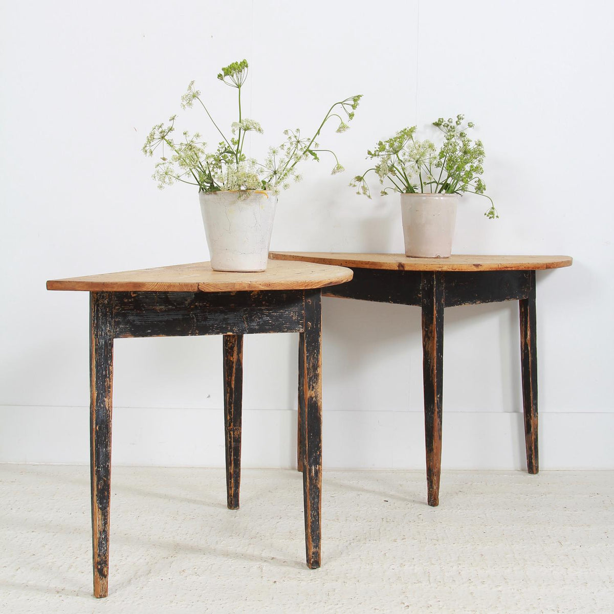 Pair of 19th Century Swedish Demi Lune Console Tables
