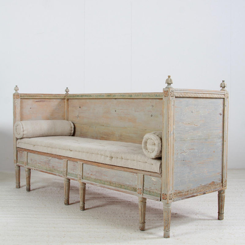 MAGNIFICENT  SWEDISH GUSTAVAIN  19THC PAINTED SOFA BENCH