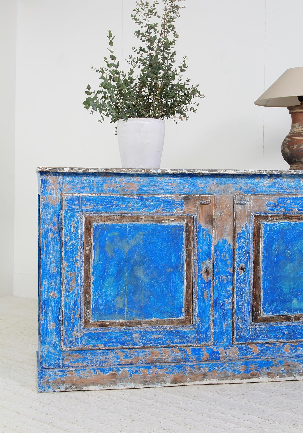 French  Provencale  19thC Two-Door Buffet with Distressed Blue Paint