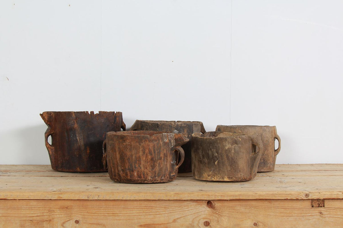 Collection Of Five Unique Primitive Wooden Grain Pots