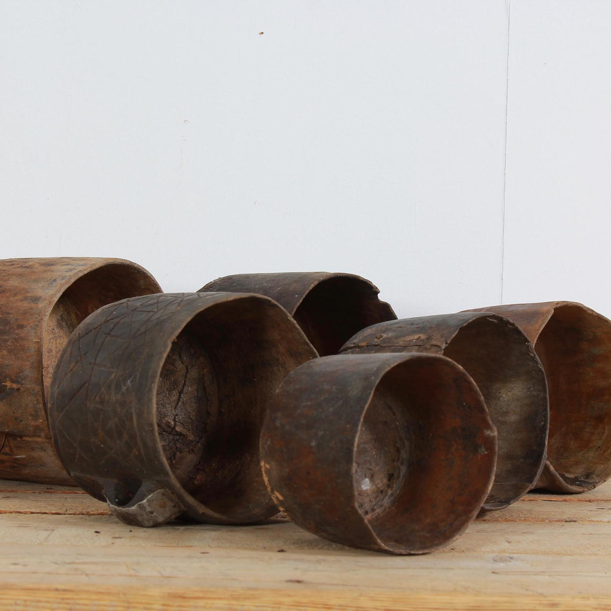 Collection Of Six Unique Primitive Wooden Pots