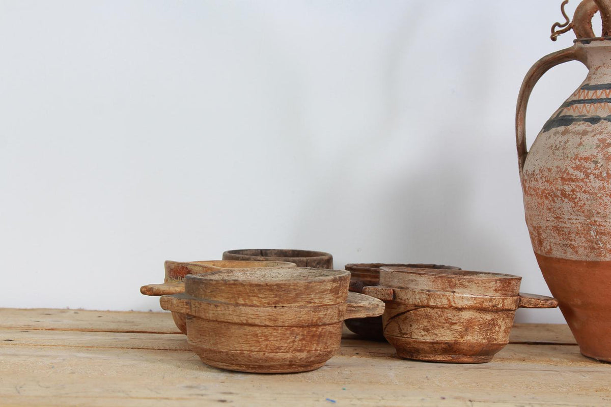 Collection of Five Early Scandinavian  Primitive Carved Wooden  Bowls