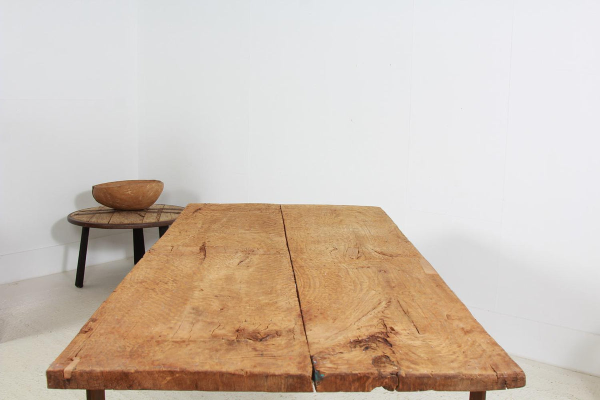 Rustic French Dining Table with Artisan Iron Base