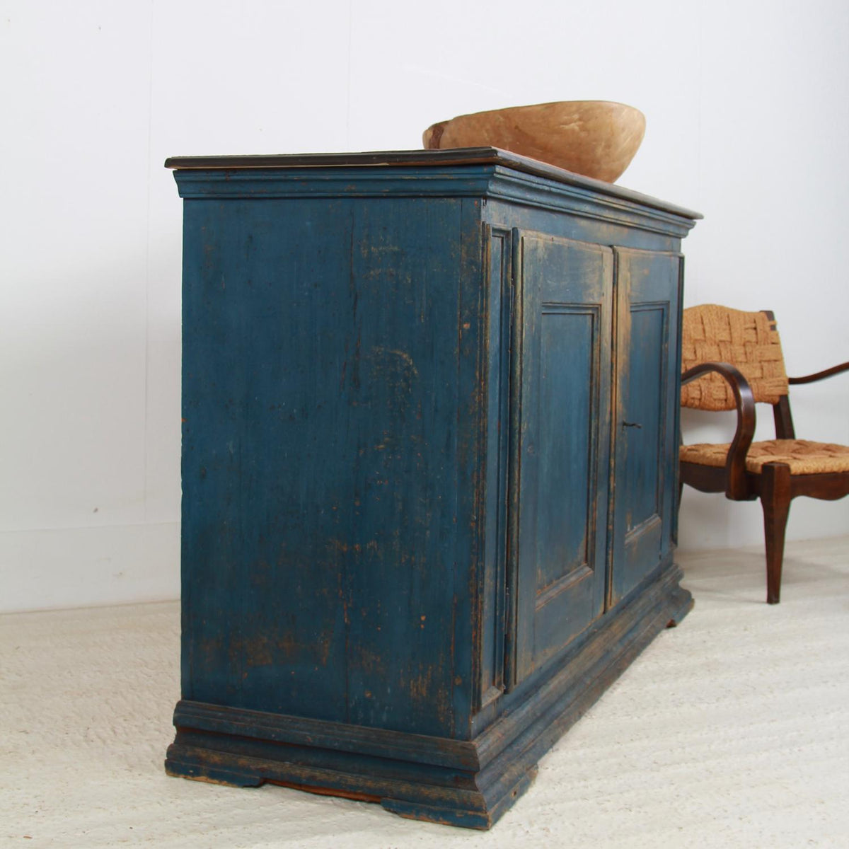 Beautiful Grand  Italian 19thC Blue Painted Two Door Buffet