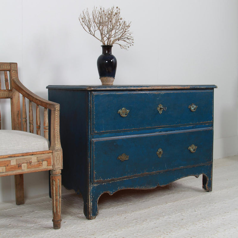 Charming Swedish 18thC Rococo Commode in Original Blue Paint