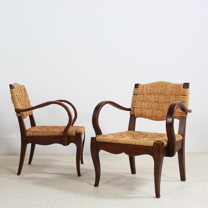 Rare Pair of Armchairs Designed by Adrien Audoux and Frida Minet