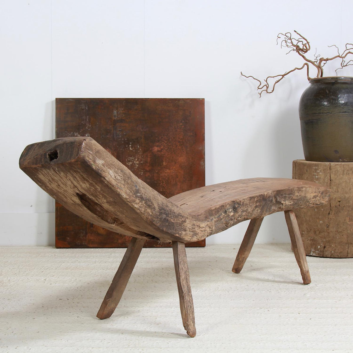 Impressive Antique Primitive Wabi Sabi Teak Bench